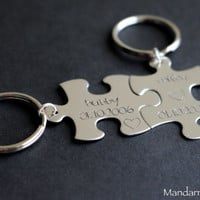 Hubby Wifey Puzzle Piece Keychains, Custom Anniversary Gift, Save the Date, Wedding Gift, His Hers, Interlocking Key Chains