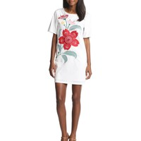 Love Moschino Women's Short-Sleeve Dress with Floral Embroidery
