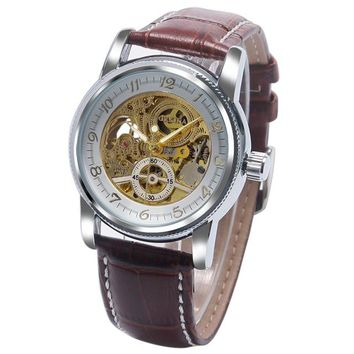 Luxury Brand Mechanical Automatic Gear Shape Skeleton Business Wrist Watch Genuine Leather Band Strap Men Women Clock