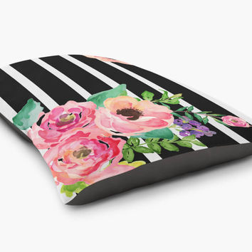 Shop black floral bedding on wanelo black white stripes floral pet bed mightylinksfo