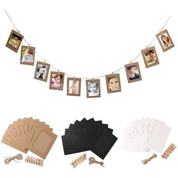New 10Pc DIY Paper Photo Wall Art Picture Hanging Album Frame With Rope Clips Home Decor