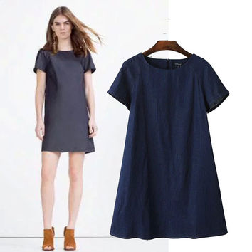 Stylish Round-neck Short Sleeve Denim Women's Fashion One Piece Dress [4914998404]