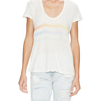 Sol Angeles Women's Sunset Waves Scoopneck Top - White - Size L