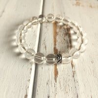 Genuine Crystal Quartz Bracelet w/ Sterling Silver Charm