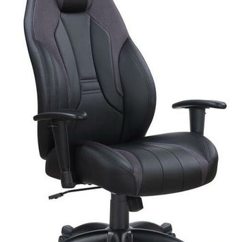 Cassington collection black leatherette upholstered high back office chair with casters