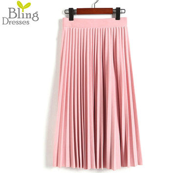 Spring Autumn New 2017 Fashion Women's High Waist Pleated Solid Color Half Length Elastic Skirt Promotions Lady Black Pink Grey