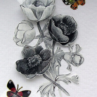 Monochrome Flowers Hand-Crafted 3D Decoupage Card - Blank for any OCCasion (1638)
