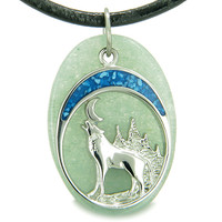 Howling Wolf Moon Amulet Good Luck Green Quartz Leather Pendant Necklace