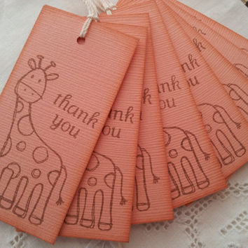 Baby Shower Giraffe Tags Set of 8