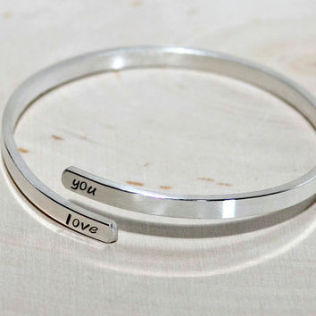 Silver Adjustable Bangle with I Love You or your own Personalizations in solid 925 Sterling Silver - BNGL11