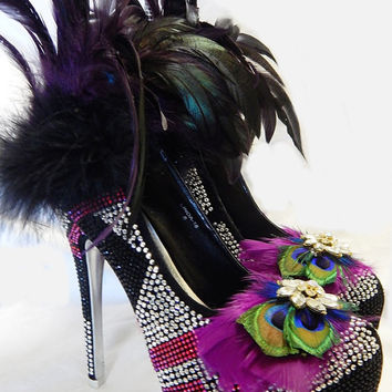 Peacock Feather Shoes Bridal Wedding Heels Crystal Pumps Ball Sz  6-9M SALE