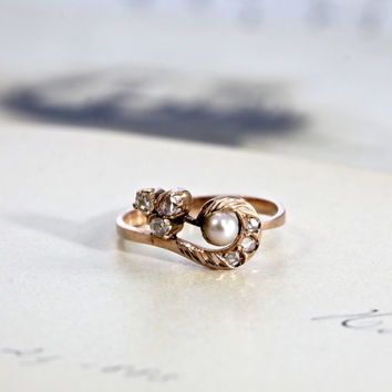Antique Art Nouveau Ring, Rose Cut Diamond & Pearl, Edwardian 14k Rose Gold Circa 1905, Promise Engagement Ring
