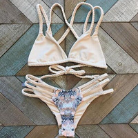 Sexy woven hollow out print Bikini Swimsuit Swimwear