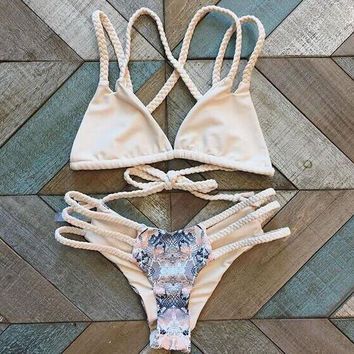 woven hollow out print Bikini Swimsuit Swimwear