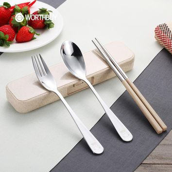 WORTHBUY Portable Cute Bear Tableware Sets For Kids School Picnic Stainless Steel Dinnerware Set Wheat Straw Cutlery Sets