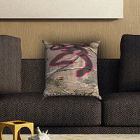 Browning Deer Camo Pillow Cover , Custom Zippered Pillow Case One Side Two SIde