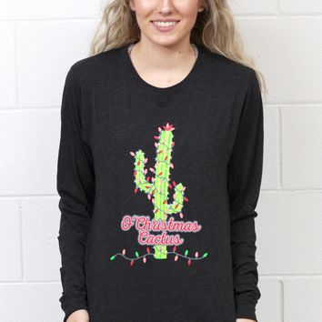 Oh Christmas Cactus L/S Tee {Charcoal Black}