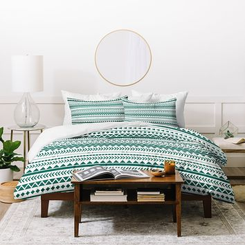 Allyson Johnson Teal Aztec Duvet Cover