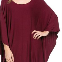 Solid One Size Kimono Dolman Sleeve Pullover Jersey Tunic Poncho Top