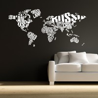 World Map in Typography Wall Decal Stickers Decor Graphics