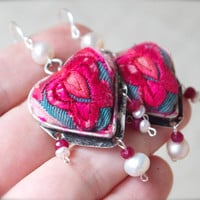 Puffy heart pink embroidery ruby pearl earring Large cute charm Ethnic tribal Lucky love talisman Chinoiserie Bohemian Boho luxe Hippie