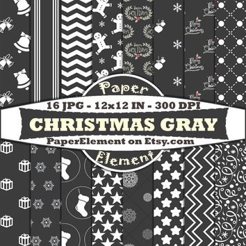 Digital Scrapbook Paper Pack in Gray and White for Christmas Background Patterns - Instant Download