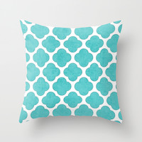 aqua clover Throw Pillow by Her Art