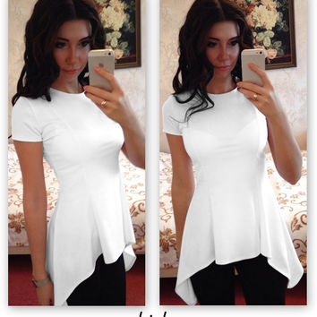 White Asymmetric Blouse