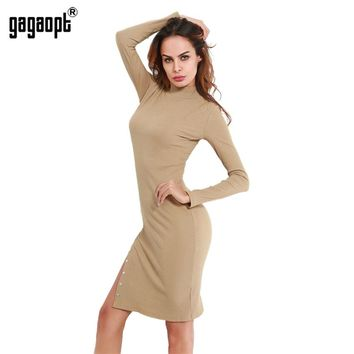 Gagaopt Streetwear Dress 95% Cotton Striped Split Metal Button Dress 2017 Autumn Women Turtleneck Long Sleeve Khaki vestidos