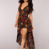 Pick A Pretty Flower Maxi Romper - Black