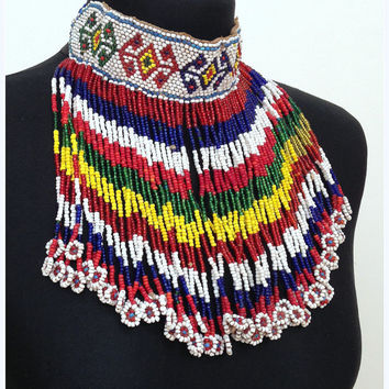 Beaded Kuchi Choker with Beaded Dangles Kuchi Choker Kuchi Coin Necklace Tribal Choker Necklace Tribal Choker Kuchi Jewelry Yellow Red Blue