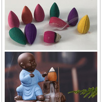 1Pc Youth Monk Burner With 10Pc Natural Backflow Incense Cones Keep A Good Mood Use In The Home Office Teahouse Incense Ceramic