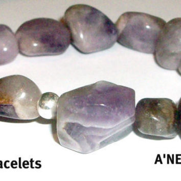 """Men's Bracelet """"Victorious"""" Genuine Amethyst And A Silver Bead"""