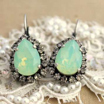 Mint green teardrop hook earring - oxidized silver earrings real swarovski rhinestone