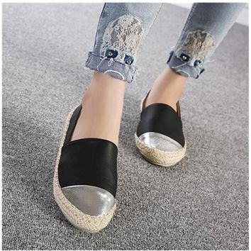 Women Women PU Leather Thick Heels Loafers, Moccasins Flats, Ladies Espadrilles, Femal