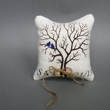 Wedding rustic natural Burlap linen Ring Bearer Pillow Purple Birds on Brown tree and linen rope