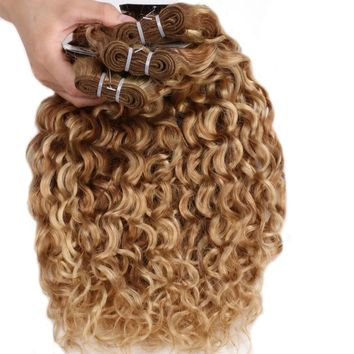 Ombre Brazilian Hair Water Wave 3 Bundles Highlight Blonde Bundles P27/613 Human Hair Weave Bundles BOL Remy Hair Extensions