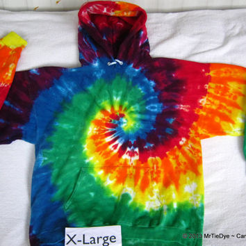 Adult XL Tie Dye Rainbow Spiral Hooded Sweatshirt