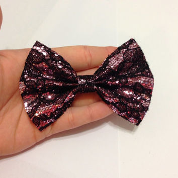 Pink Glitter Lace Canvas Hair Bow on Alligator Clip - 4 Inches Wide - AFFORDABOW Line - Affordable and High Quality Hair Bows