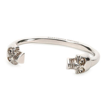 Alexander McQueen Mens Large Twin-Skull Coated Brass Bracelet