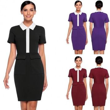 Formal Short Sleeve Knee Length Solid Turn Down Collar Pencil Work Business Dress