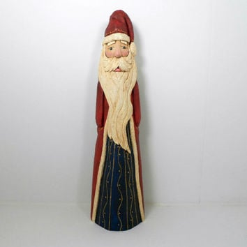 Hand Carved Tall Wooden Folk Style Santa Collectible