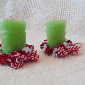 Holiday Candle Wreaths SET, Christmas Votive Wreaths, Mini Floral Wreaths, Red and White Flower Candle Holder Wreaths, Wreath Ornaments