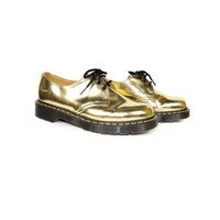 GOLD DR MARTENS oxfords - golden docs 3 eye oxford shoes - metallic spectra gold 1461 - 39 eu - 6 uk - 7 mens - 8 womens