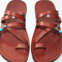 Brown Decor Buckleless Leather Sandals | SANDALI - Clothing on ArtFire