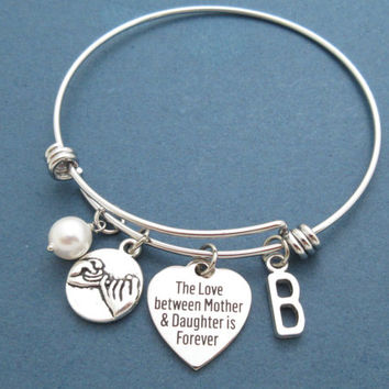 The Love between Mother & Daughter is forever, Personalized, Letter, Initial, Pinky promise, Pearl, Heart, Bangle, Bracelet, Gift, Jewelry