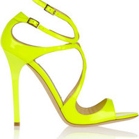 Jimmy Choo Lance neon patent-leather sandals – 50% at THE OUTNET.COM
