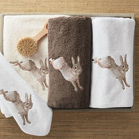 Embroidered Rabbit Towels | Gump's