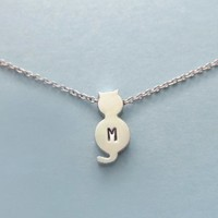 Personalized, Letter, Initial, Gold, Silver, Cat, Necklace