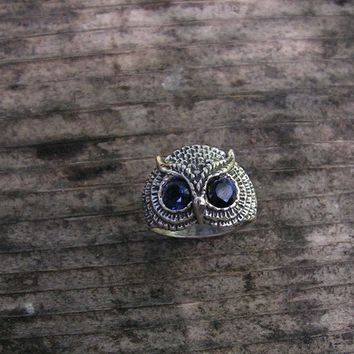 Sterling Silver Owl Ring With Sapphire Eyes